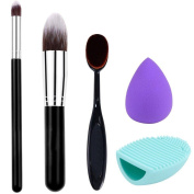 DaySeventh 5pcs Makeup Brush Makeup Sponge Makeup Brush Cleaner Foundation Brush Kits