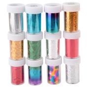 HENGSONG 12pcs 3D Colourful Nail Art Stickers Tip Decal Manicure