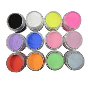 12 Mix Colours Acrylic Nail Art Dust Powder Decoration for Tips Drawing Powder