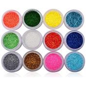 12 Mix Colours Gliter Nail Art Powder Professional Nail Art Accessories