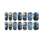 OULII Nail Art Stickers Nail Wraps Mysterious Starry Sky Night Patterned Nail Art Stencils