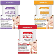 (Set/3) Dermactin-TS Exfoliating Anti-Ageing and Pore Refining Facial Wipes