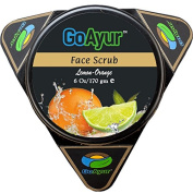 GoAyur Ayurvedic Face Scrub,Gentle Exfoliating & Natural Facial Scrub, 100% Natural Fragrance, Lemon Orange, 180ml
