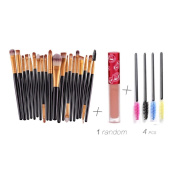 Creazy® 20PCs Make Up Brush Eyebrow Brushes+4 PCs Eyelash Brush+1 PC Lip gloss Black brush