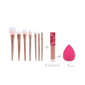 Creazy® 7PCS Professional Brush+1 PC Sponge Puffs+1 PC Lip gloss