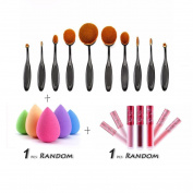Creazy® 10PCS Toothbrush Brushes+1 PC Sponge Puffs+1 PC Lip gloss