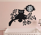 "Design with Vinyl RAD 1256 2.5cm Owl Family At Night Tree Branch Mom Dad Baby Kids Boy Girl Bedroom"" Vinyl Wall Decal, 30cm x 46cm , Black"