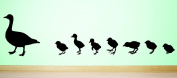 Design with Vinyl RAD 591 2 Duck with Baby Ducklings Family In Line Silhouette Vinyl Wall Decal, Black, 36cm x 70cm