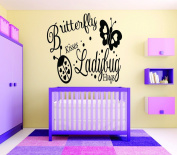 Design with Vinyl RAD 716 3 Butterfly Kisses Ladybug Hugs Baby Girl Bedroom Wall Decal, Black, 50cm x 80cm