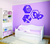 Design with Vinyl RAD 727 1 Ladybug Butterfly Dragonfly Design Baby Girl Teen Bedroom Design Wall Decal, Purple, 30cm x 46cm