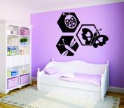 Design with Vinyl RAD 726 1 Ladybug Butterfly Dragonfly Design Baby Girl Teen Bedroom Design Wall Decal, Black, 30cm x 46cm