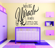 Design with Vinyl RAD 729 2 Such A Big Miracle In Such A Little Girl Baby Bedroom Quote Wall Decal, Black, 41cm x 60cm