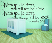 Design with Vinyl RAD 982 3 When You Lie Down, You Will Not Be Afraid; When You Lie Down, Your Sleep Will Be Sweet. Proverbs 3;24 Bible Quote KJV Baby Boy Girl Wall Decal, Black, 50cm x 80cm