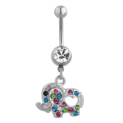 Elephant Colourful Birthstone Belly Button Sexy Cute Ring Dangle Stainless Steel Body Jewellery Piercing