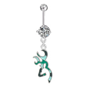Cute Deer Crystal Belly Button Ring Dangle 316L Surgical Steel Body Jewellery Piercing