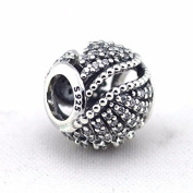 Majestic Feathers Charm with Clear Cubic Zirconia 925 Sterling Silver Beads Fit European Pandora Bracelet