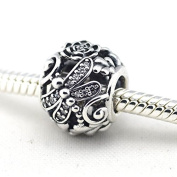 Dragonfly Meadow Charm with Clear Cubic Zirconia 925 Sterling Silver Beads Fit European Pandora Bracelet