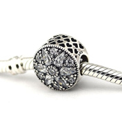 Radiant Bloom Charm with Clear Crystal Cubic Zirconia 925 Sterling Silver Beads Fit European Pandora Bracelet