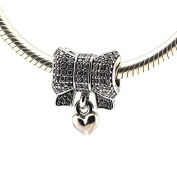 Heart and Bow Charm with Clear Cubic Zirconia 925 Sterling Silver Beads Fit European Pandora Bracelet