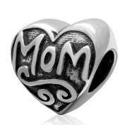 Choruslove Mom Heart Charm 925 Sterling Silver Love Bead Fits Mother's Day Bracelet Jewellery