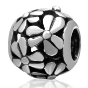 Choruslove Embossed Flower Charm 925 Sterling Silver Bead for European Woman Bracelet or Necklace Jewellery