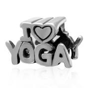 Choruslove I Love Yoga Alphabet Charm 925 Sterling Silver Meditation Exercise Healthy Life Bead for European Sport Bracelet Jewellery