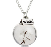 NIANPU Handmade Fashion Wishing Bottle Necklace Real Dandelion Seed Wish Necklace
