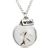 NIANPU Handmade Fashion Wishing Bottle Necklace Real Dandelion Seed Wish Necklace
