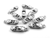 Set of Ten (10) Silver Tone Pewter Convertible Sports Car Charms
