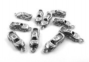 Set of Ten (10) Silver Tone Pewter #75 Race Car Charms