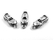 Set of Three (3) Silver Tone Pewter #75 Race Car Charms