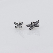 DIY fits European Pandora Jewellery 925 Sterling Silver Dragonfly Silver Stud Earrings with Cubic Zirconia