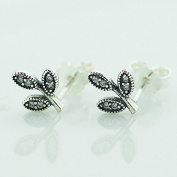 DIY fits European Pandora Jewellery 925 Sterling Silver Jewellery Short Leaf Stud Earring Zircon Fashion Gift for Woman Charm
