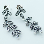 DIY fits European Pandora Jewellery 925 Sterling Silver Sparkling Leaves, Clear Cz