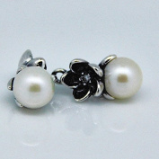 DIY fits European Pandora Jewellery 925 Sterling Silver Floral Silver Pendant Earrings With White Freshwater Cultured Pearls, Cubic Zirconia and Black Enamel