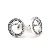 Forever Stud Earrings with Clear Cubic Zirconia fits European Pandora Jewellery Authentic 925 Sterling Silver