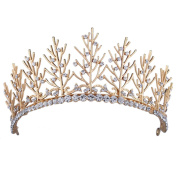 Stuffwholesale Crystal Women Girl Crown Tiaras Gold Tree Branch Prom Pageant Headwear with Bobby Pins