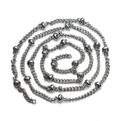 Linsoir Beads F3618 Stainless Steel Cable Rolo & Bead Necklace Chain Unisex Fashion Jewellery Accesssory 2MM Pack of 5 Metres