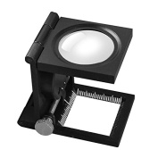 LED Illuminated Portable 10X Jewellers Loupe Magnifier - Double Deck Glass Magnifying Eye Loop Stand- Perfect Low Vision Reading Aide for Books, Menus, Magazines
