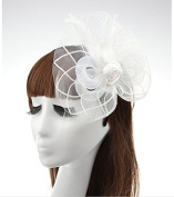 White Big Flower Mesh Feather on Hair Clip Headwear Fascinator,Wedding Headwear Bridal Headpiece for Women