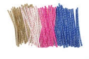 Bilipala 200PCS Assorted Colour Packaging Twist Cable Ties with Letters for Candy Bread Bag