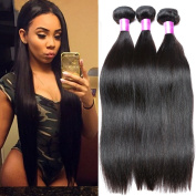 B & P Hair Mixed Length 14 16 46cm Brazilian Virgin Hair Straight Weave 3 Bundles, 95-100g/Bundle, 6A Unprocessed Brazilian Virgin Human Hair Extensions Natural Colour Weft