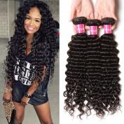 Longqi Brazilian Deep Wave Extensions 6a Unprocessed Virgin Deep Curly Weave 3 Bundles Remy Human Hair