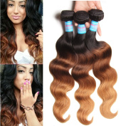 Jolia Hair 41cm - 70cm 6a Grade Ombre Brazilian Wavy Hair 3 Bundles 100g/pcs #1b/27/4 Brazilian Body Wave Healthy Sexy Hair Weave Extensions No Shedding and Tangle Free