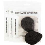 3 Teardrop Shape Activated Bamboo Charcoal Infused Premium Konjac Sponge - 100% Natural Gentle Exfoliating & Pore Cleansing Facial Sponge - Ideal for All Skin Types - Sensitive, Dry, Oily & Acne Prone