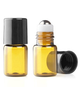 Grand Parfums Empty 2ml Amber Glass Micro Mini Rollon Dram Glass Bottles with Metal Roller Balls - Refillable Aromatherapy Essential Oil Roll On - Bulk - 1/2 Dram