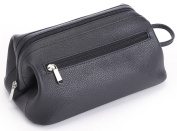 ROYCE Toiletry Travel Wash Bag in Pebbled Genuine Leather - Black