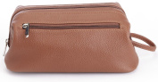ROYCE Toiletry Travel Wash Bag in Pebbled Genuine Leather - Tan