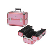 Sunrise Portable Makeup Cosmetic Train Case with 4 Trays, Pink