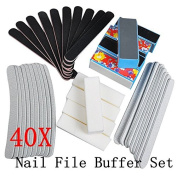 Biutee 40PCS Nail Art Sanding Files Buffer Block Manicure Pedicure Tools Sand Paper Foam UV Gel Set Nail File